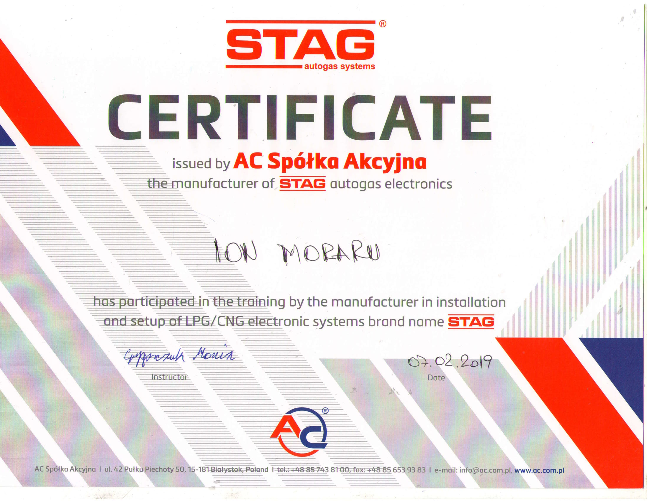 Certificare AC STAG
